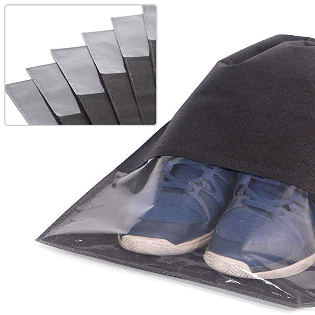 Shoes Storage Bag Black 12PCS Travel Shoe Bags Waterproof Non-Woven Storage Drawstrings for Men Women Large Shoes Pouch Packing Organizers