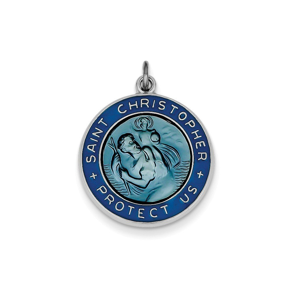 Christopher Protect Us Medal Charm Pendant .925 Sterling Silver Enameled St