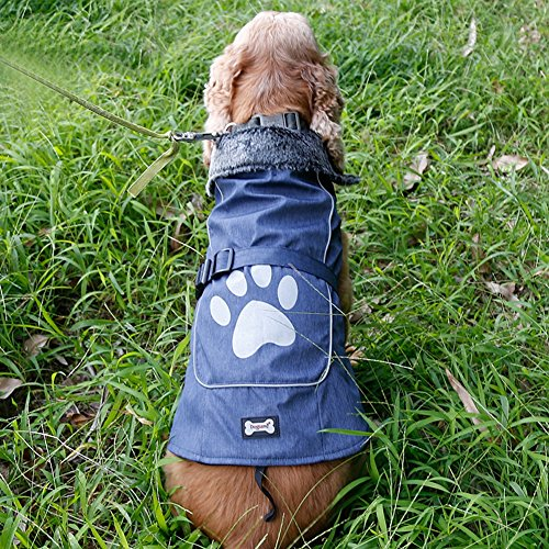 Kuoser outdoor Cotton Thickened Fleece Lining 100% waterproof Dog Vest Winter Coat Warm Dog Apparel for Cold Weather Dog Jacket for Small Medium Large dogs with Furry Collar (S -3XL),Blue XL