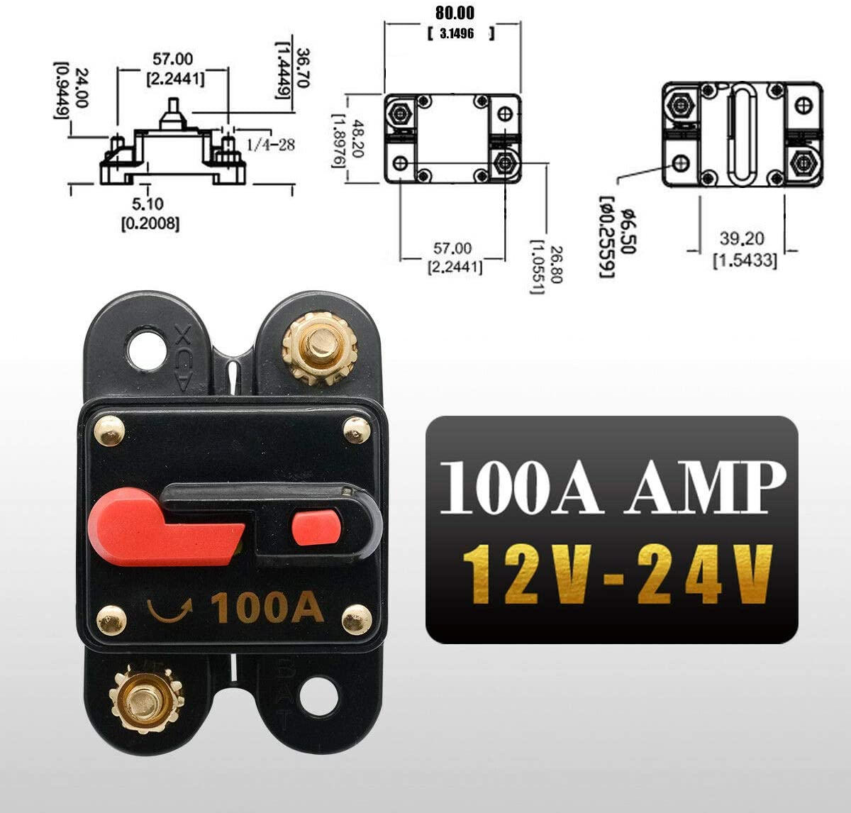 70 Amp Circuit Breaker with Manual Reset HugeAuto 12V-24V DC Car Audio Inline Circuit Breaker Fuse Block for Auto Motor Car Marine Boat Audio Solar Inverter System Protection