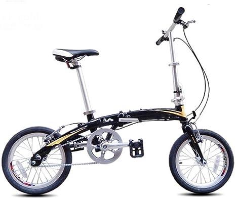 MASLEID 16 Pulgadas Bicicleta Plegable de aleación de Aluminio de una Sola Velocidad Bicicleta Mini Ultra portátil, Black Purple: Amazon.es: Deportes y aire libre