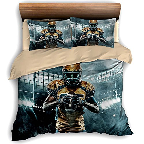 American Football Sportsman Players 3 Piece Bedding Sets 200cm x 230cm Duvet Cover Set 2 Pillow Case 100% Microfiber, Full Size