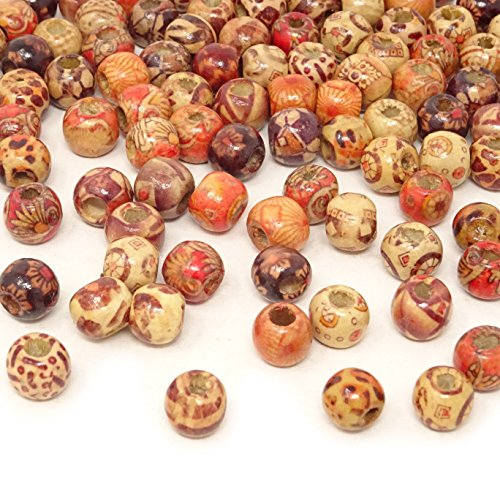Honbay 200PCS 10mm Natural Painted Mixed Pattern Wood Beads Round Loose Wooden Beads for DIY Crafts Jewelry Making