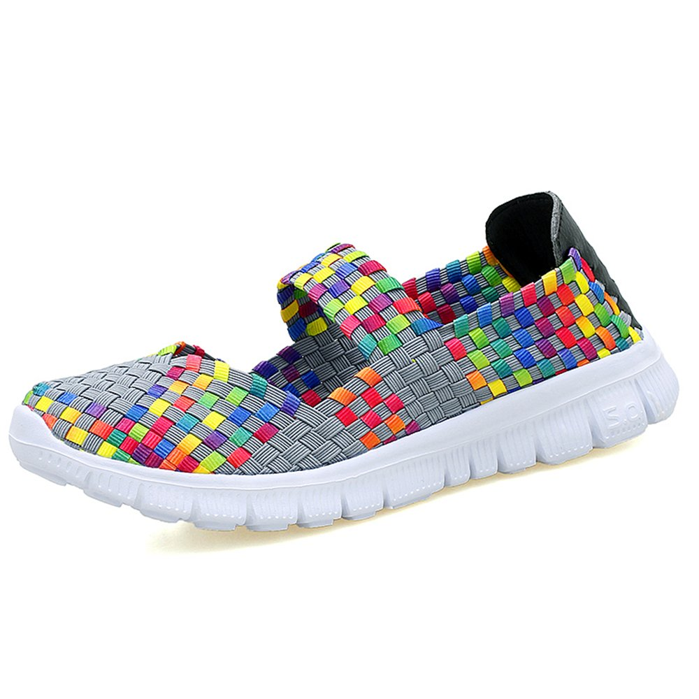 YMY Women's Woven Sneakers Casual Lightweight Sneakers - Breathable Running Shoes B07D5V5YC8 US B(M) 5 Women|Multicolor