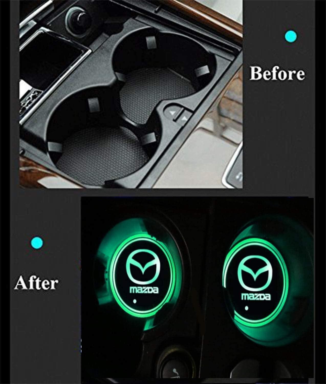 Hcxh-A 2 Morceaux de Tapis de Porte-gobelet Voiture LED Coaster Verre /étanche Lampe atmosph/ère de Voiture Color : Fit Audi