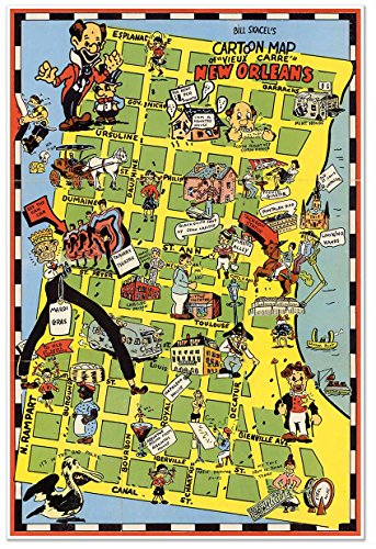 Pictoral cartoon map of New Orleans FRENCH QUARTER (Vieux Carre) circa 1946 - measures 24