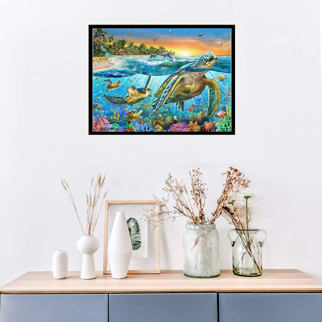 DIY 5D Diamond Painting Kit Full Diamond Dolphin Embroidery Rhinestone Cross Stitch Arts Craft Supply for Home Wall Decor