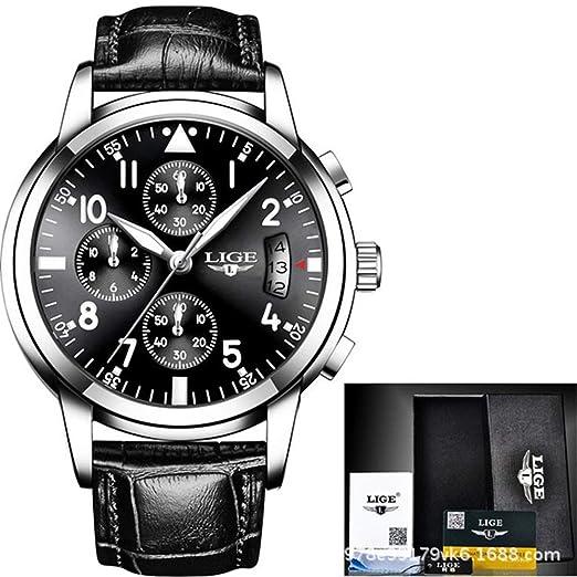 HWCOO LIGE Relojes mecánicos Reloj LIGE Reloj de Cuarzo Masculino Correa de Acero Reloj de los