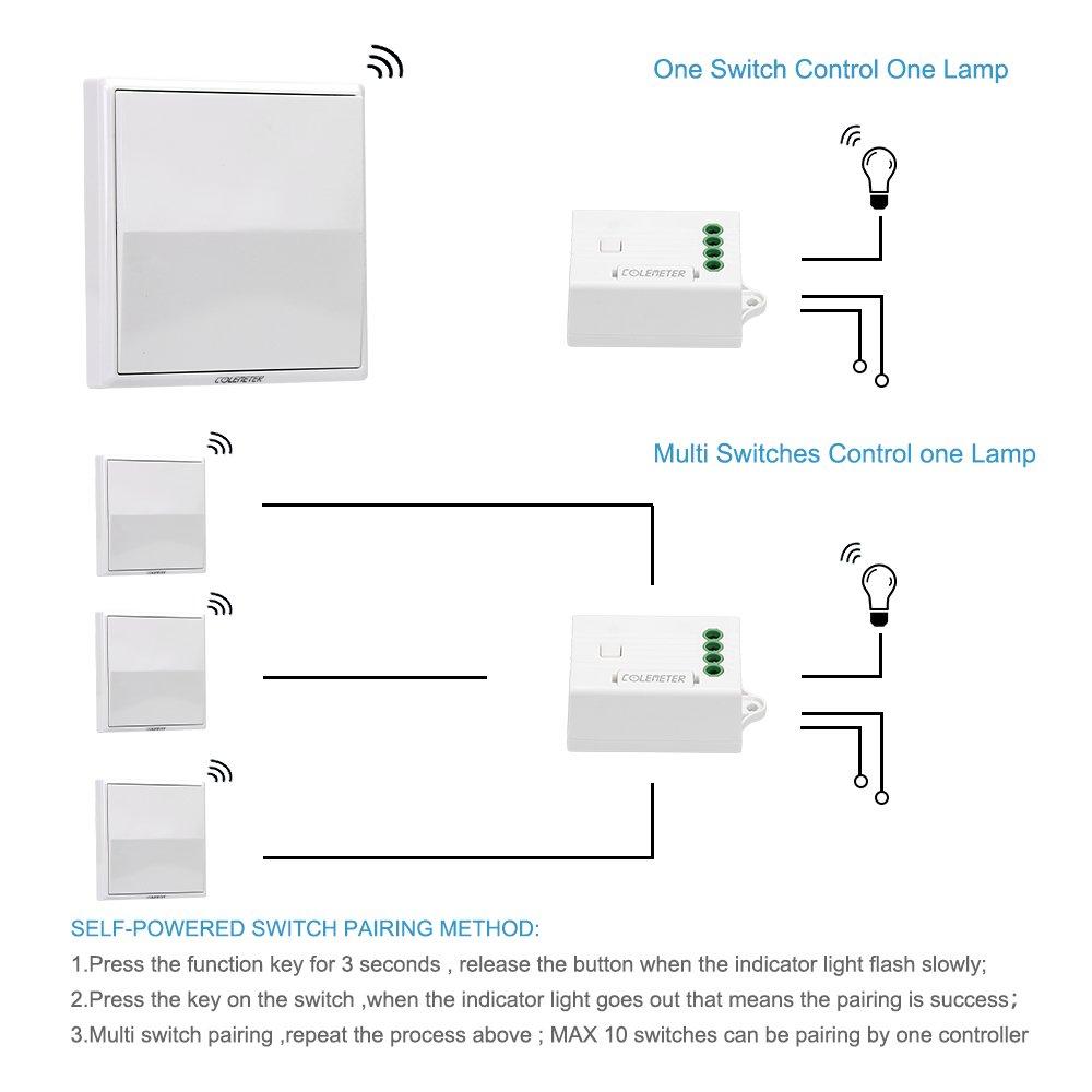 Lichtschalter Funkschalter Set, COLEMETER Funk Schalter Wasserdicht ...
