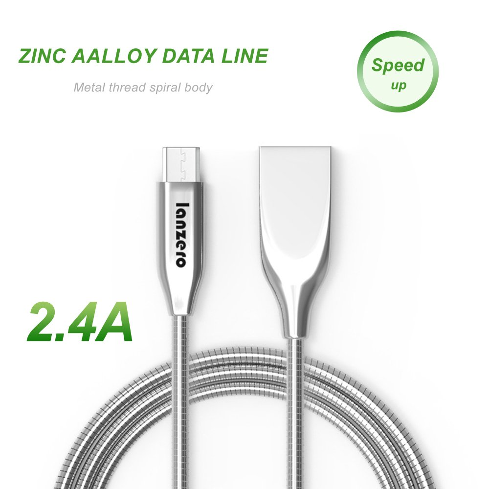 1M Mechanic Metal Charger USB Cable,Reversible USB 2.0 to Micro USB Cable Braided, Quick Charge High Speed Data Sync Android Smartphone