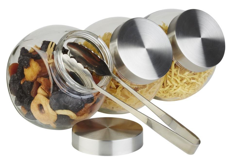 APS gro/ßes Vorratsglas Vorratsdose mit Edelstahl Schraubdeckel 12,5 x 19cm H: 18cm Fassungsverm/ögen 1 Liter