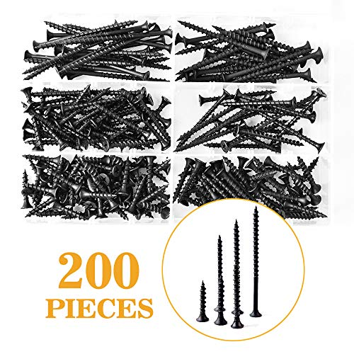 VIGRUE M4 Drywall Screws Sharp Point Self Tapping Screws Carbon Steel Wood Screws Assortment Set Phillips Bugle Head 200PCS for Drywall Sheetrock, Wood, Furniture and Cabinet (Black)