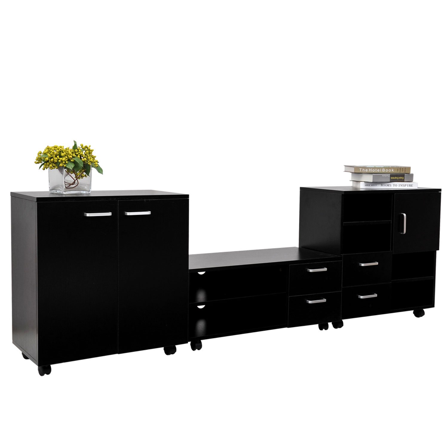 HOMCOM Living Room Mobile 3 Piece Trio Furniture Set TV Cabinet + Besides +  Storage Chest Black New: Amazon.co.uk: Kitchen U0026 Home Part 74