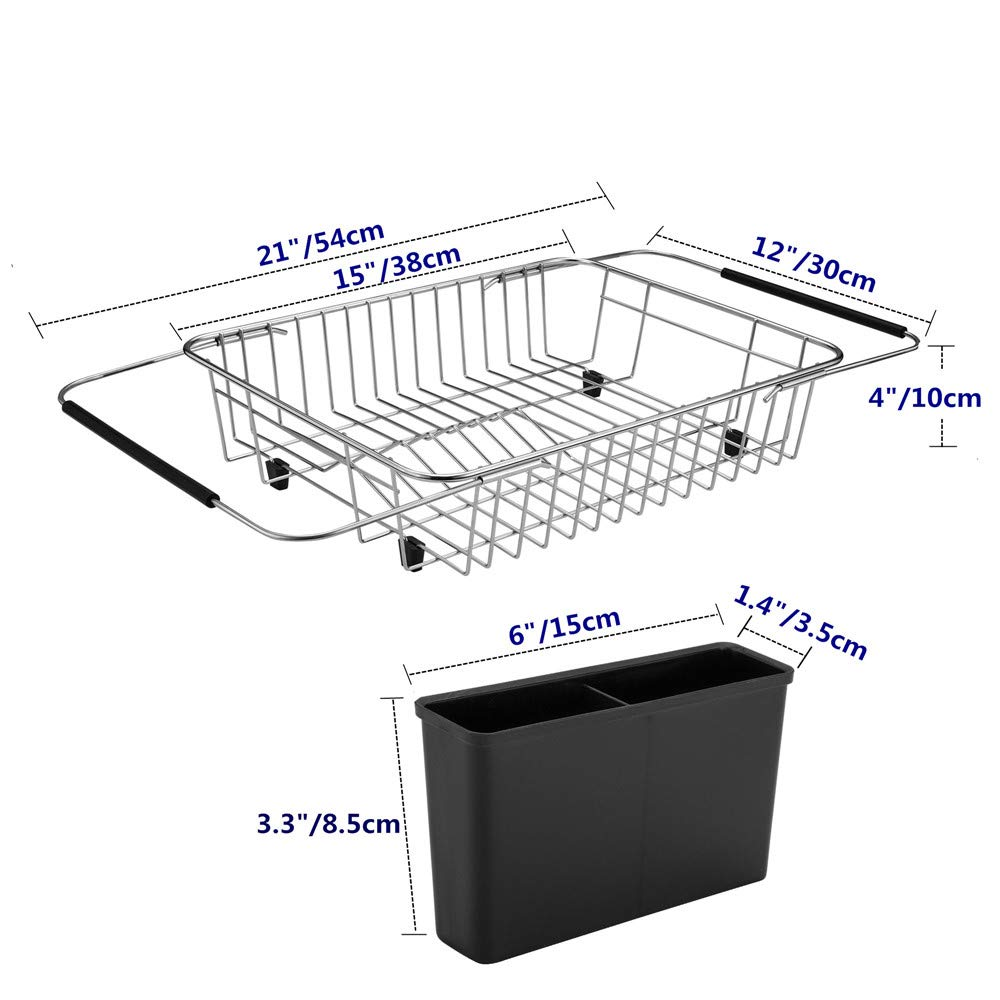 SANNO Expandable Dish drying Rack,Over the Sink Adjustable Dish Drainer,Dish Rack In Sink or On Counter with Utensil Silverware Storage Holder, Rustproof Stainless Steel by SANNO (Image #4)