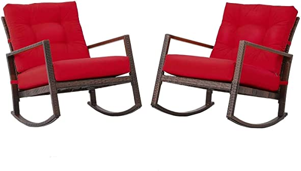 Betterland Outdoor Patio Rocking Chair 2 Piece Set All-Weather PE Wicker Chair