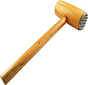 Meat Tenderizer Mallet - Flat and Metal Side - Chicken Pounder for Tenderizing Steak Beef - Wooden Handle Mallet Hammer - Easy Use & Light Kitchen Tools
