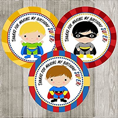 Superhero Thank You Sticker Labels for Boys - Set of 30