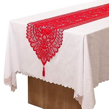 Christmas Table Runner Handmade Crochet Lace Dinning Table Runner With Tassels For Home