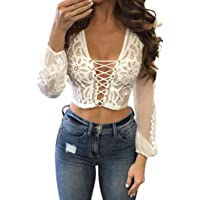 Napoo-long sleeve blouse Women Sheer See Through Lace Floral Mesh Criss Cross Bandage Crop Top
