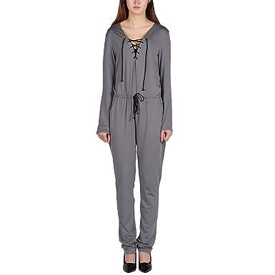 cb9fa96331ca44 LAEMILIA Elegant Damen Jumpsuit Langarm V-Ausschnitt Hosenanzug Playsuit  Overall Suit Einteiler Catsuit Party Abendmode