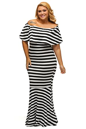 a95b614b85c Gloria Sarah Women s Off The Shoulder Mermaid Striped Ruffle Tube Plus Size  Maxi Dress