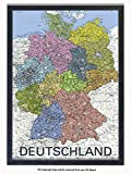 Laminated Posters Framed - Deutschland - Map Of Germany - GERMAN LANGUAGE - Push Pin Memo Notice Board - Black Driftwood Effect - Matt Finish - Measures 96.5 x 66 cms (38 x 26 Inches - Approx)