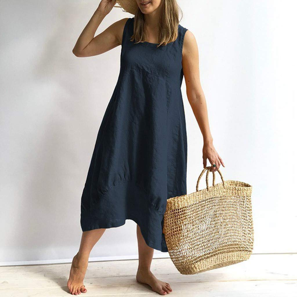 Nuewofally Womens Cotton Dress Casual Long Sleeve Dress Solid Vintage Party Dress Fashion Maxi Beach Dress Sundress