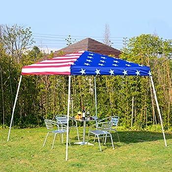 outsunny 10 39 x 10 39 slant leg pop up canopy shelter party tent american flag. Black Bedroom Furniture Sets. Home Design Ideas