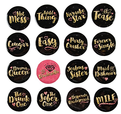 Pinback Buttons - 16-Pack Bachelorette Party Button Pins in 16 Designs for Bridal Shower Party Favors, Black and Gold, 2.25 Inches Diameter]()