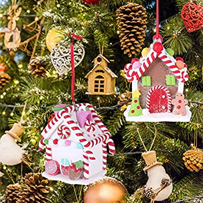 Ultnice 2pcs Christmas Tree Ornament Gingerbread Resin House Tree Hanging Pendant For Christmas Home Decor Random Style Amazon Sg Home