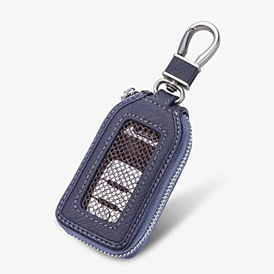 Car Keychain Cover Premium Leather Key Chain Coin Holder Keyring Hook Wallet Zipper Case Remote Smart Key Fob Alarm Security (Blue): Office Products