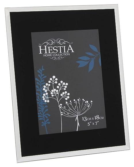 Hestia Black Glass Photo Frames with Silver Mirror Edge (5x7 ...