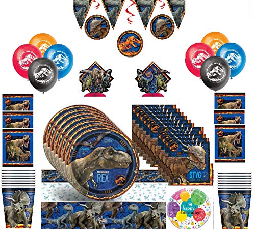 Jurassic World Fallen Kingdom Mega Party Kit for 16 Guests with Decorations and Balloons