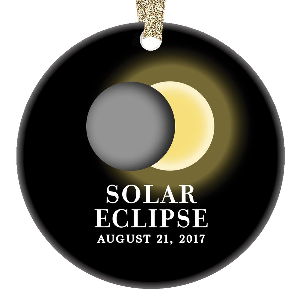 Solar Eclipse Ornament August 21 2017 North America Total Partial Sun Moon Totality Christmas Tree Gift Idea 3'' Flat Circle Porcelain Ceramic Ornament Keepsake Present Gold Ribbon & Gift Box OR00323