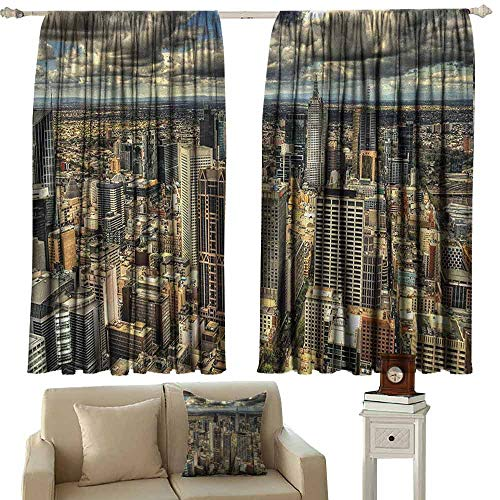 GUUVOR Urban Shading Insulated Curtain Melbourne Cityscape Modern Australia Architecture Buildings Metropolis Dramatic Sky Soundproof Shade W100 x L84 Inch Multicolor (Australia Bamboo Outdoor Furniture)