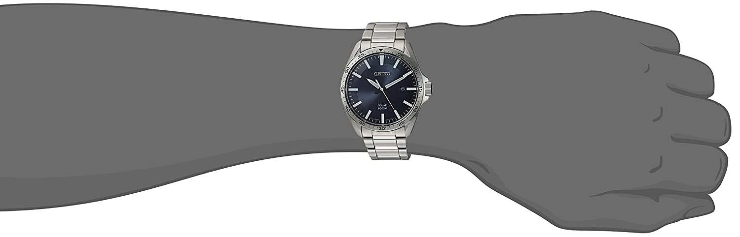 Seiko Men s Sport Watches Japanese-Quartz Stainless-Steel Strap, Silver, 20 Model SNE483