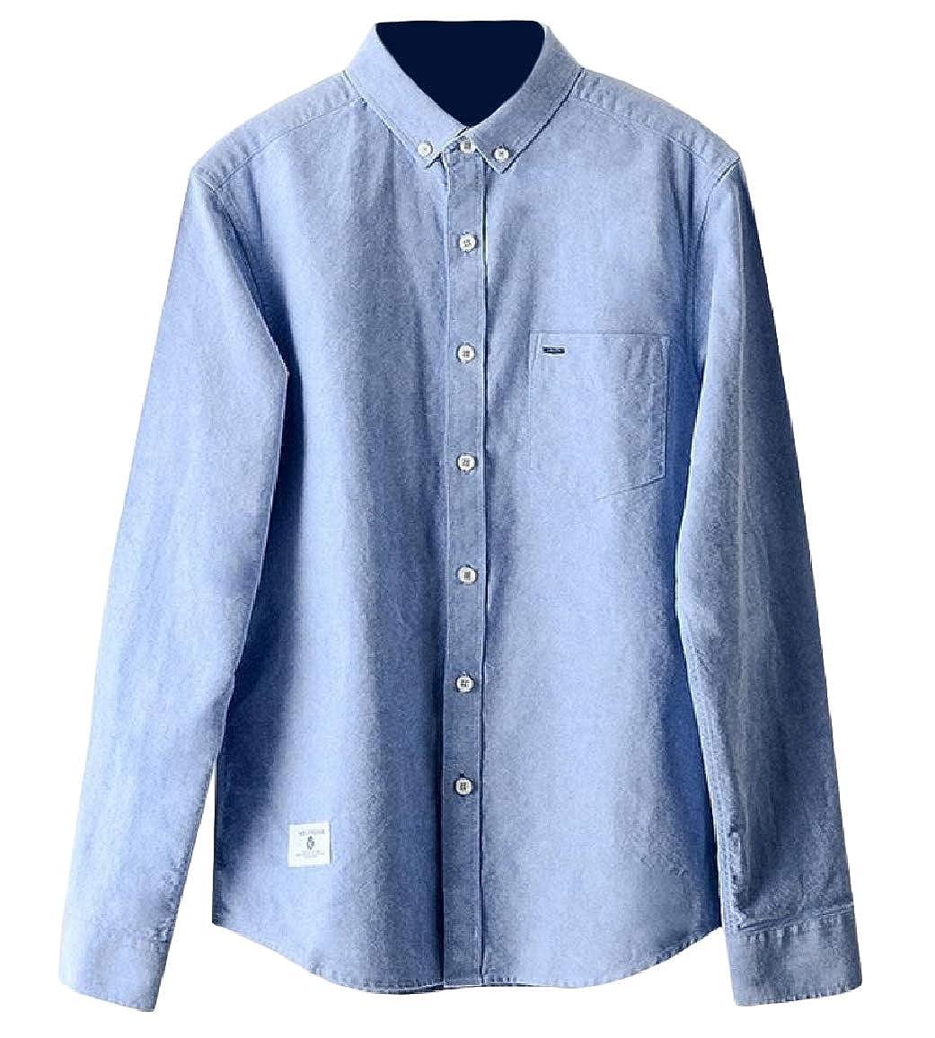 Sayah Mens Long Sleeve Retro Pocket Lapel Button Cotton Tees Top Shirts