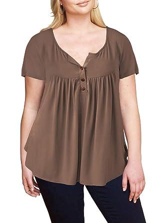 3033f8cb869cd Ranphee Grande Taille T-Shirts à Femme Manche Courte Casual Blouse Eté col  v Tops