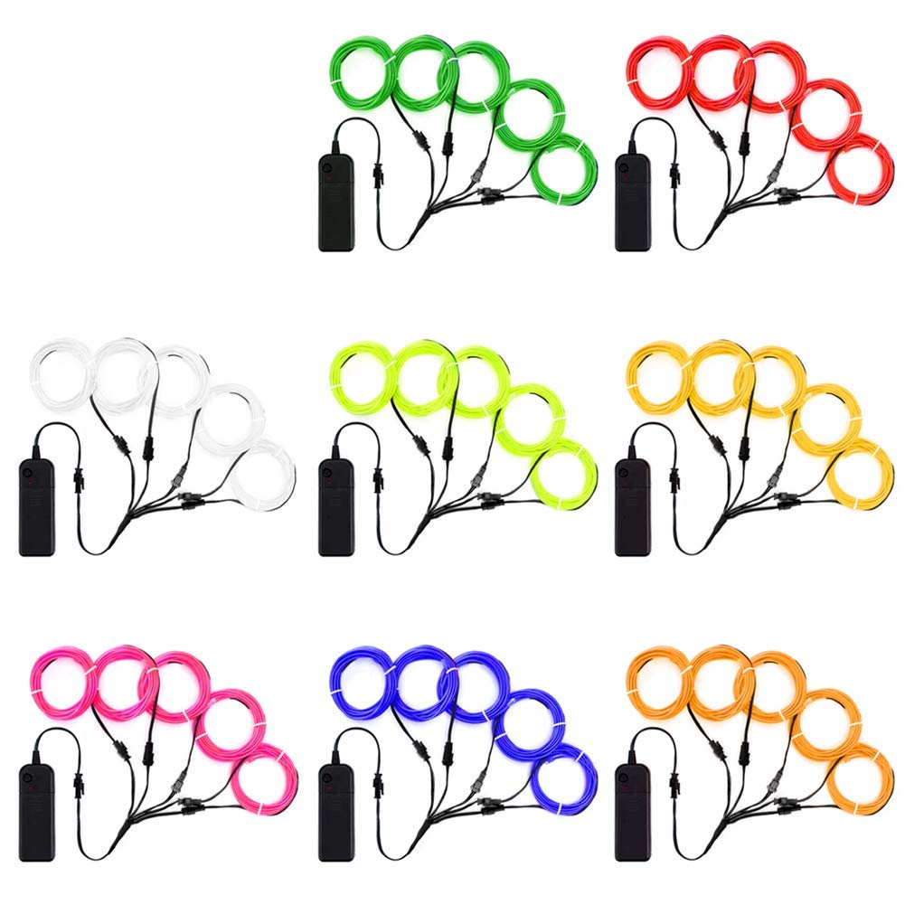 Zitrades EL Wire Neon Lights Kit with Portable AA Battery Inverter for Halloween Christmas Party DIY Decoration (Red, Green, Pink, Lemon Green, Blue, White, Yellow, Orange, 5 by 1-Meter, 8 Pack)