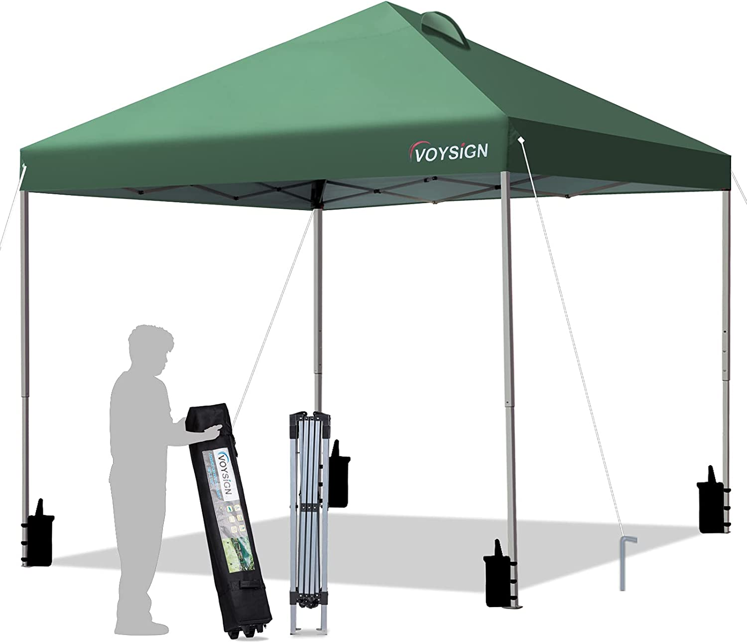 VOYSIGN 10x10 Pop Up Canopy Tent, Outdoor Instant Sun Shelter - Green, Included 1 x Rolling Storage Wheeled Bag, 4 x Weights Bags, 4 x Guylines, 8 x Stakes (Green)