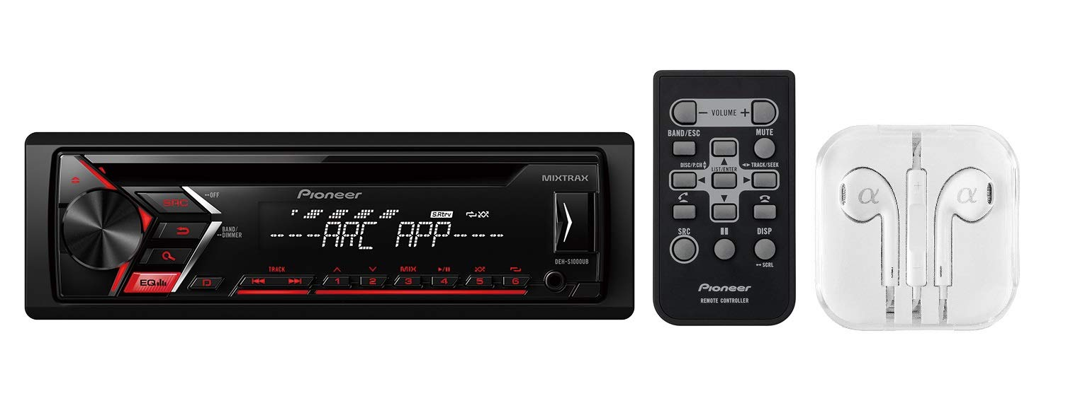Pioneer Single DIN In-Dash CD, CD-R/RW, MP3, Front USB and Auxiliary Input, AM/FM Detachable Face Plate Car Stereo Receiver w/ Remote Control, MIXTRAX and ARC Support / FREE ALPHASONIK EARBUDS, BLACK, Model:DEH-S1000UB + EP-102