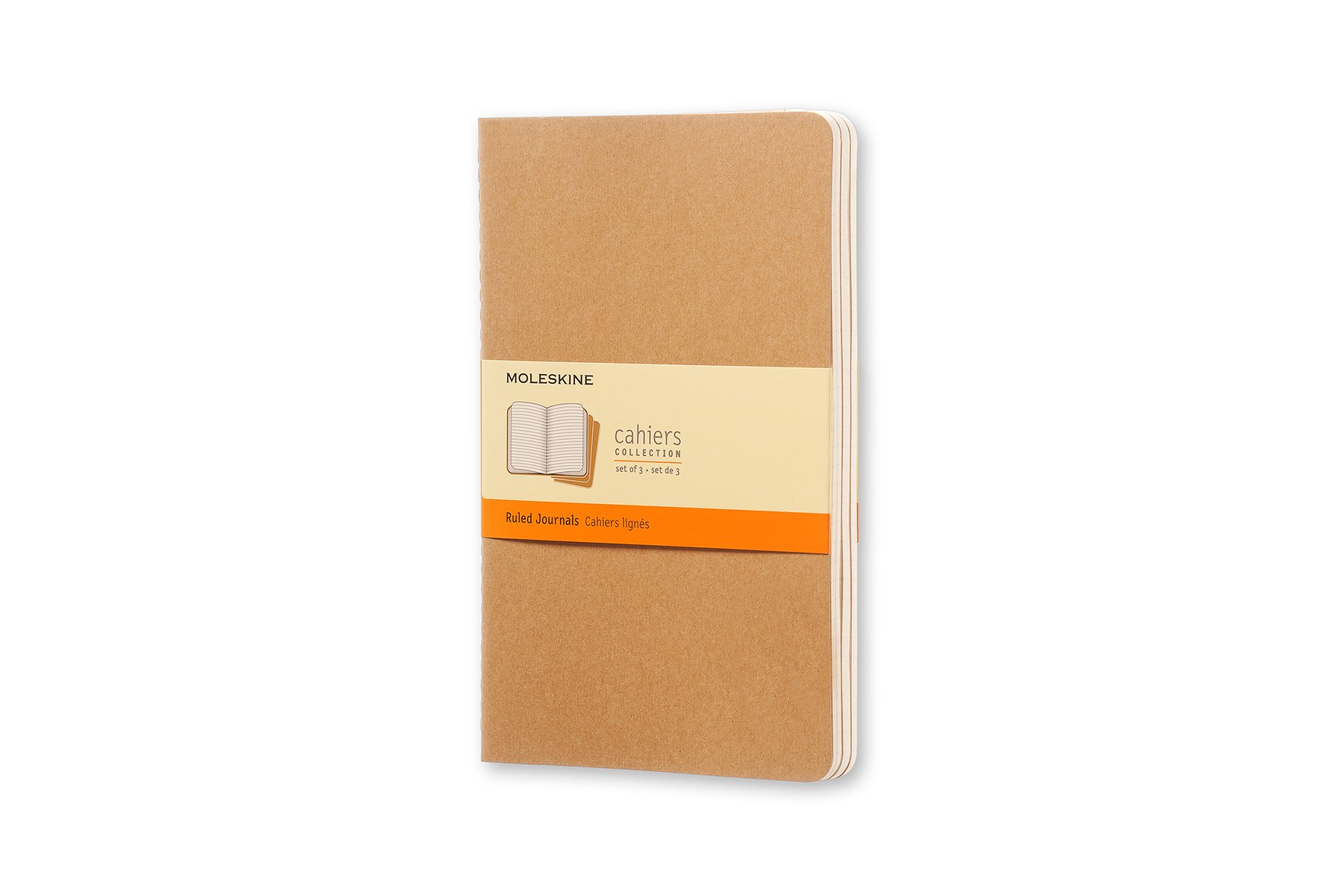 Moleskine Cahier Soft Cover Journal, Set of 3, Ruled, Large.