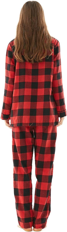 Buffalo Plaid 2-Piece Holiday Pjs Button Up Jammies Sleepwear for Adults Kids Pets Matching Family Christmas Pajamas Set
