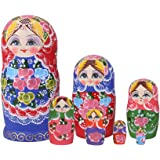 Série de 7pcs Poupées Russes Matriochkas en Bois Motif Peint à la Main - Multicolore