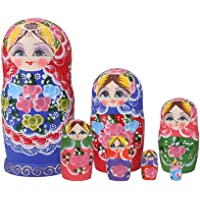 BAOBLADE 7 Pieces Handmade Colorful Wooden Nesting Dolls Set Classical Russian Matryoshka Babushka Toys Kids Children Christmas Gift Home Office Decor