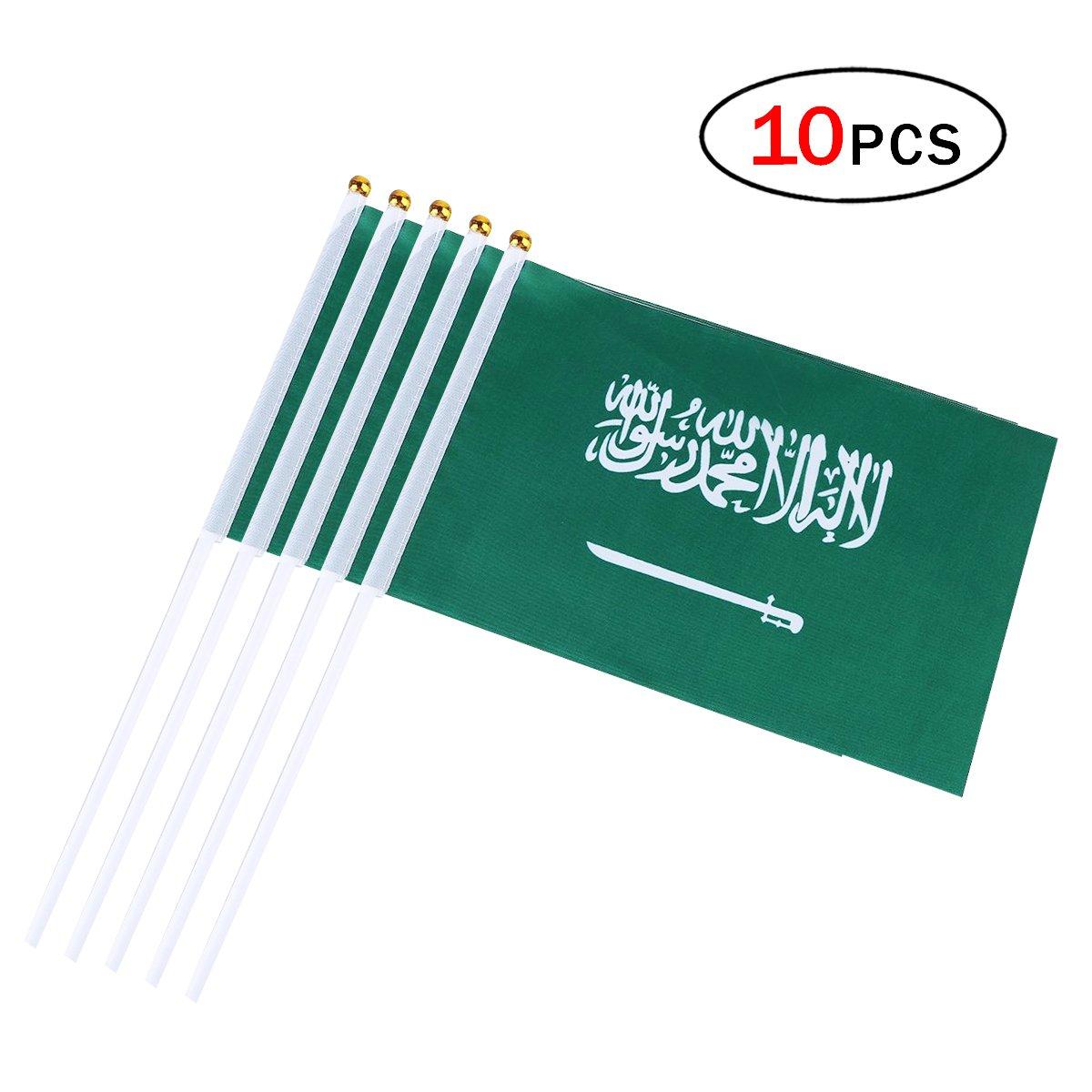 Saudi Arabia Stick Flag 5.5 x 8.3 Inch Small Hand