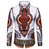 GOVOW African Print Shirts for Men Big and Tall - Autumn Luxury Long Sleeve Dashiki Shirt Top Blouse(US:10/CN:XXL,ZY-White)