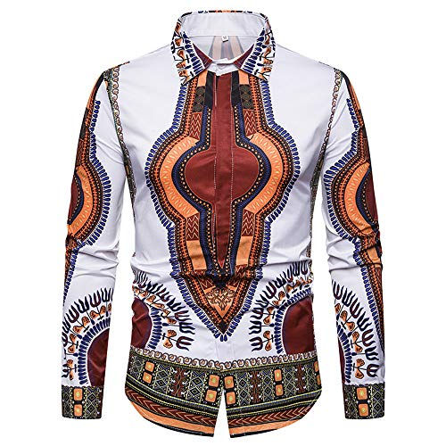 GOVOW African Print Shirts for Men Big and Tall - Autumn Luxury Long Sleeve Dashiki Shirt Top Blouse(US:8/CN:XL,ZY-White)