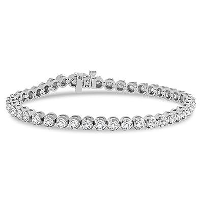 9b9a1343731 AGS Certified 5 Carat TW Three Prong Diamond Tennis Bracelet in 14K White  Gold (J-K