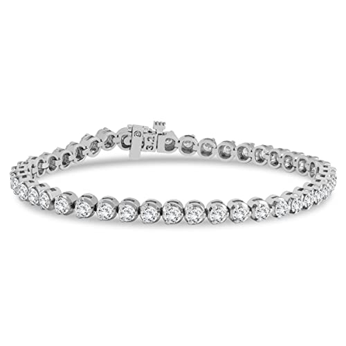AGS Certified 5 Carat TW Three Prong Diamond Tennis Bracelet in 14K White Gold J-K Color, I2-I3 Clarity